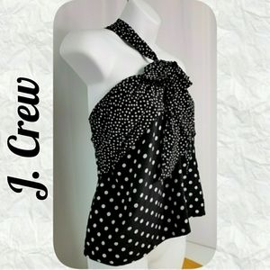 J. Crew Backless Silk Top Polka Dots Sz 2
